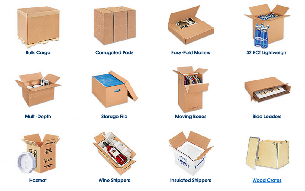 Shipping boxes and corrugated, cardboard mailers