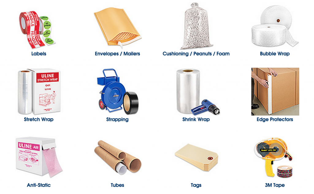 Various types of shipping supplies